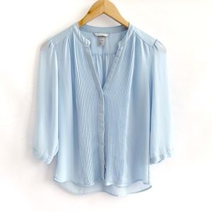 H&M Blue Pleated Blouse